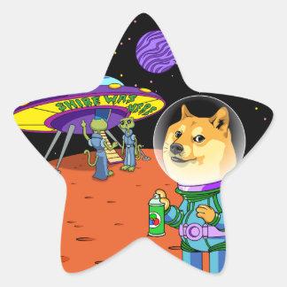 Shibe Doge Astro och tecknaden för Stjärnformat Klistermärke