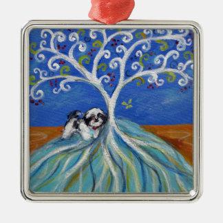 Shih Tzu kärlekSpritual träd Julgransprydnad Metall