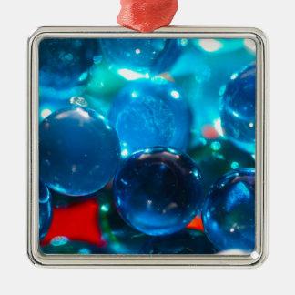 Shinning blåttexponeringsglaspärlor julgransprydnad metall
