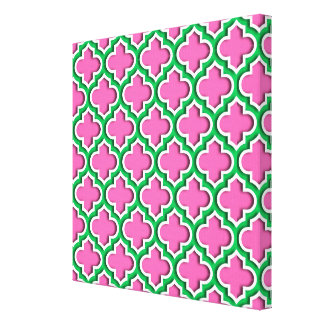 Shock rosa #2, smaragd, vita marockanska canvastryck