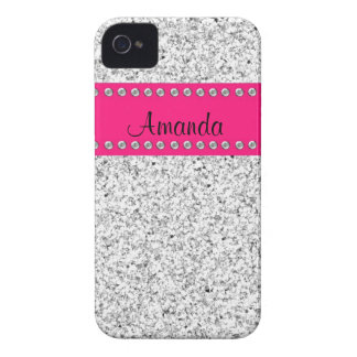 Shock rosa & fodral för iPhone 4 för silverglitter iPhone 4 Hud