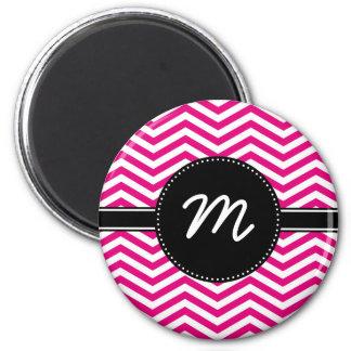 Hot Pink and Tiny White Chevron Monogram