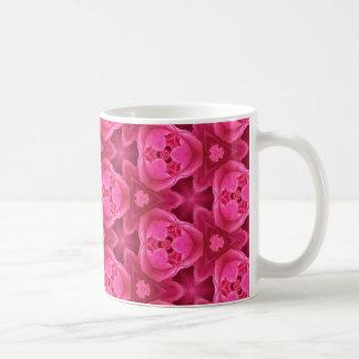 Shock rosa och rött mönster för blommigtabstraktro kaffemugg