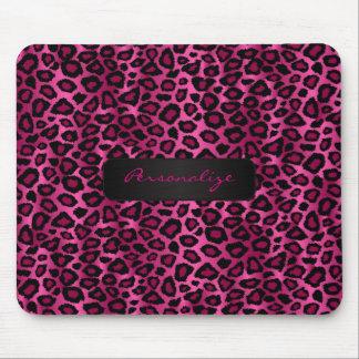 Shock rosa och svart Ikat Leopardtryck Musmatta