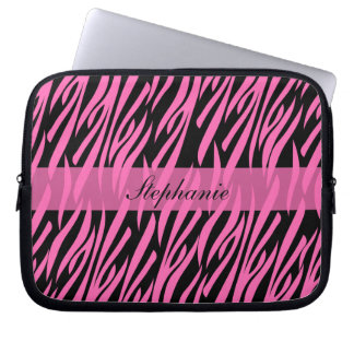 Shock rosa- och svartzebra tryck laptopfodral