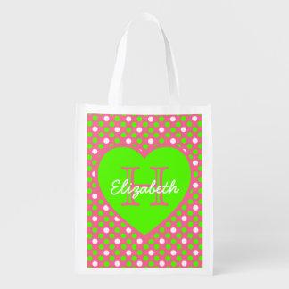 Shock rosa och toto för grön Monogram för Återanvändbara Kassar