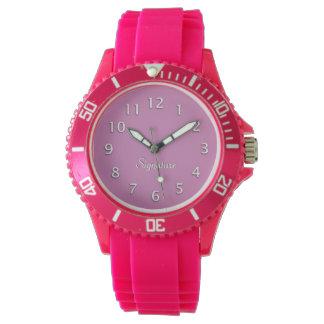 Shock rosa- och vithäfte armbandsur