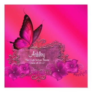 Shock rosafjärilstillkännagivande för studenten fyrkantigt 13,3 cm inbjudningskort