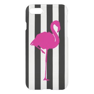 Shock rosaFlamingo på svartvit rand iPhone 7 Skal