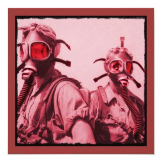 Shock rosagasmaskar fyrkantigt 13,3 cm inbjudningskort
