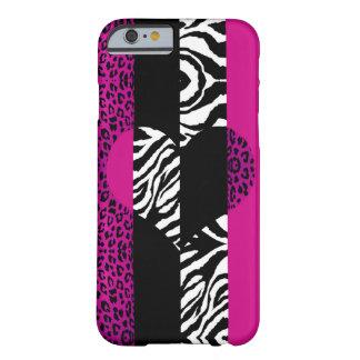 Shock rosaleopard- och sebradjurhjärta barely there iPhone 6 fodral