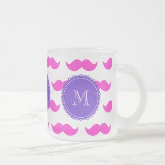 Shock rosamustaschmönster, purpurfärgad frostad glas mugg