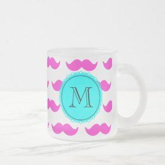 Shock rosamustaschmönster, svart Monogram för Aqua Kaffe Mugg