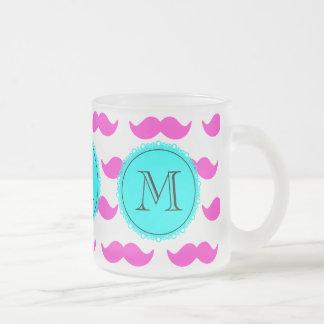 Shock rosamustaschmönster, svart Monogram för Aqua Kaffe Muggar