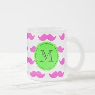 Shock rosamustaschmönster, svart Monogram för grön Kaffe Mugg