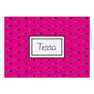 Shock rosaPoka Dott personlig Notecard Hälsningskort