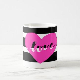 Shock rosasvart & vit görad randig kärlekkaffemugg kaffemugg