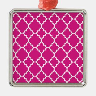 Shock rosavitQuatrefoil marockanskt mönster Silverfärgad Fyrkantigt Julgransprydnad