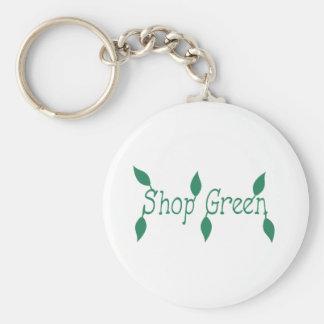 Shoppa grönt rund nyckelring