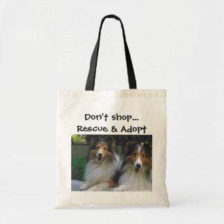 Shoppa inte… räddingen & adoptera Shelties Tygkasse