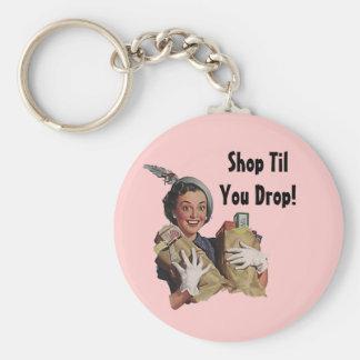 Shoppar den lyckliga shopparen för Keychain Rund Nyckelring