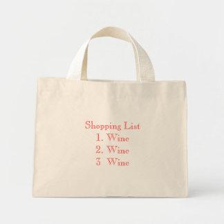 Shopping List1. Wine2. Vin Wine3 Mini Tygkasse