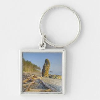 Shoreline och Seastacks, Rubystrand, OS Fyrkantig Silverfärgad Nyckelring