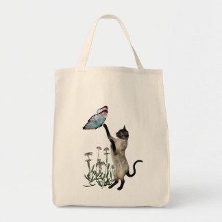 Siamese blommor för kattfjärilsdaisy tygkasse