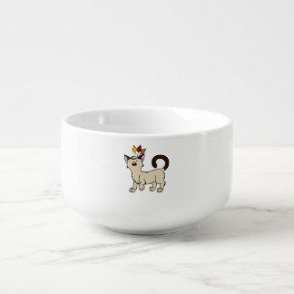 Siamese katt för thanksgiving med indisk kopp för soppa