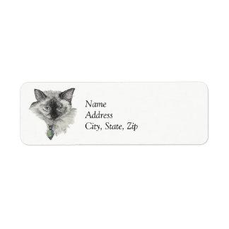 Siamese katt returadress etikett
