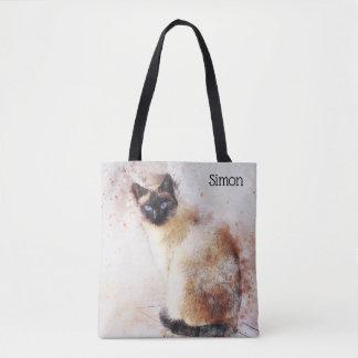Siamese kattpersonlig för moderiktig vattenfärg tygkasse