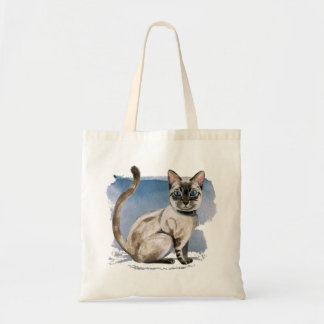 Siamese kattungevattenfärgmålning tygkasse