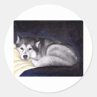 Siberian husky runt klistermärke