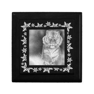 Siberian tiger i Gifen för snöjulSnowflake Presentförpackning