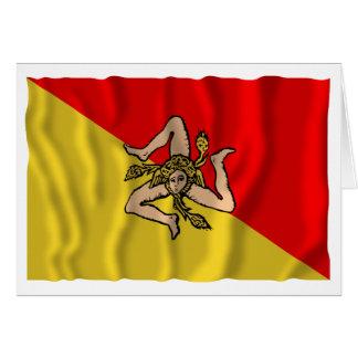 Sicilia som vinkar flagga hälsningskort