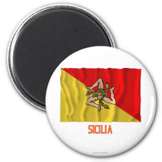 Sicilia som vinkar flagga med namn magnet