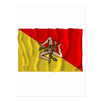 Sicilia som vinkar flagga vykort