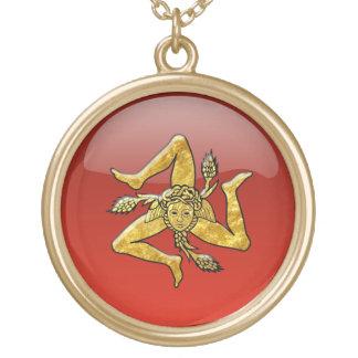 Sicilian Trinacria Glass Lookguld Guldpläterat Halsband