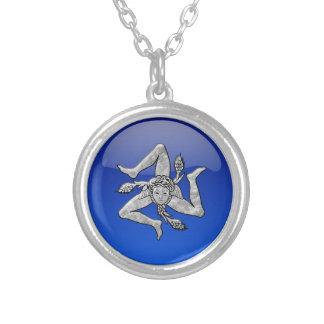 Sicilian Trinacria Glass Looksilver Silverpläterat Halsband