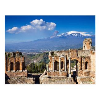 Sicily - grekisk teater av den Taormina vykortet Vykort