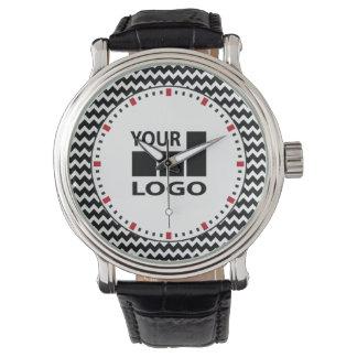 Sicksack för vit för Grundläggande Företag logotyp Armbandsur