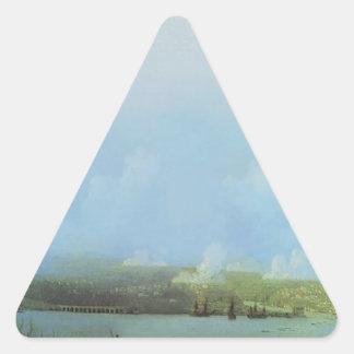 Siege av Sevastopol av Ivan Aivazovsky Triangelformat Klistermärke
