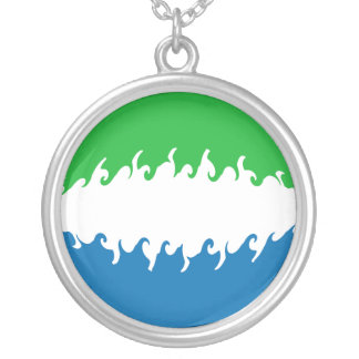 Sierra Leone Gnarly flagga Halsband Med Rund Hängsmycke