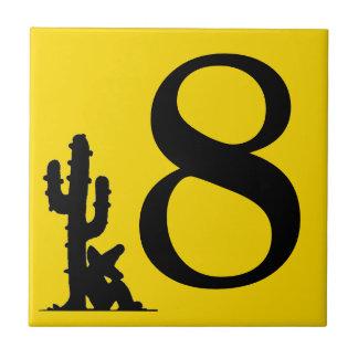 Siestaen vid kaktusgulthett numrerar 8 åtta kakelplatta