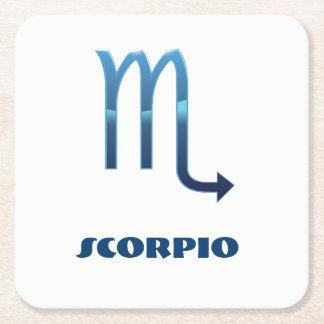 Sig för blåttScorpioZodiac på vit Underlägg Papper Kvadrat