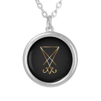 Sigil av det Lucifer- A symbolet av satanism Silverpläterat Halsband