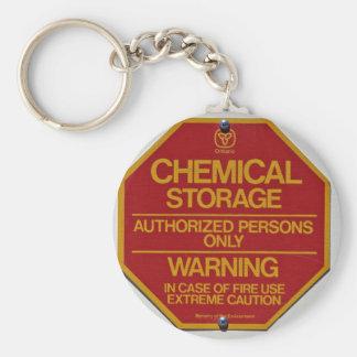 Sign stiger ombord att indikera kemisk lagring rund nyckelring