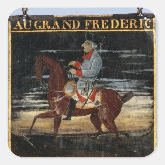 Signpost med Frederick underbaren på hästrygg Fyrkantigt Klistermärke