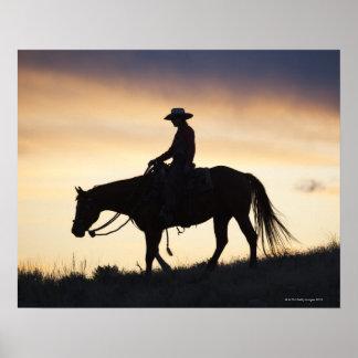 Silhouette av en Cowgirl på henne häst mot Poster
