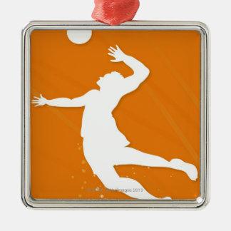Silhouette av en man som leker volleyboll julgransprydnad metall